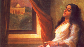 In Contemplation - a painting by Raja Ravi Varma
