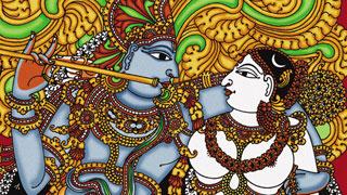 Krishna & Radha, a mural painting