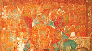 Gajendra Moksham, Mural Painting at Krishnapuram Palace