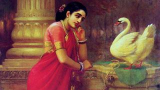 Hamsa Damayanti - a painting by Raja Ravi Varma