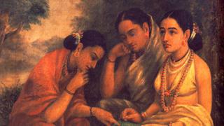 ശകുന്തളയും തോഴിമാരും - രാജാ രവിവര്മ്മ ചിത്രം