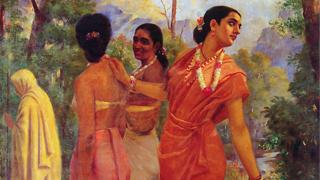 ദർഭമുന കൊണ്ട ശകുന്തള - രാജാ രവിവര്മ്മ ചിത്രം